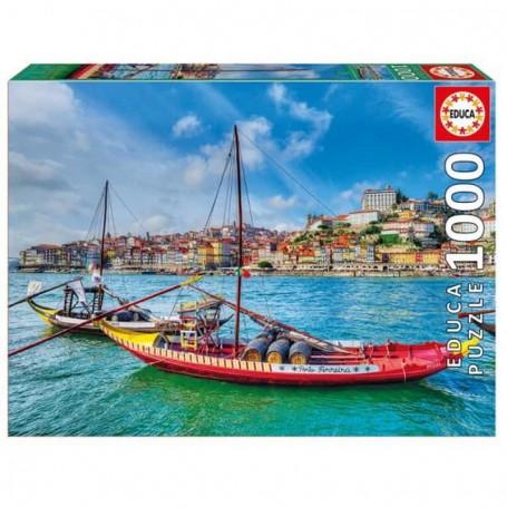 Educa - Puzzle 1000 Peças: Barcos Rabelos, Porto