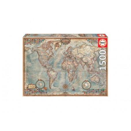 Educa Puzzle Mundo Mapa Político 1500 Peças 16005