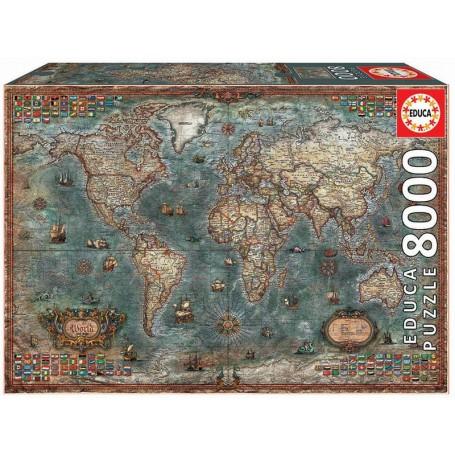 Educa - Puzzle Mapa Histórico do Mundo - 8000 Peças