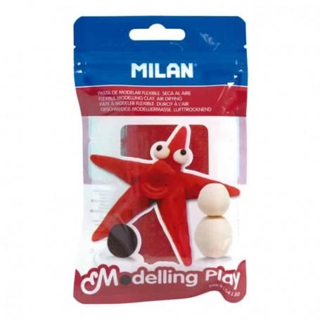 Milan - Pasta de Modelagem Flexível, Secagem Ao Ar, Vermelha