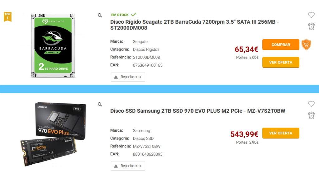 Preço HDD SSD