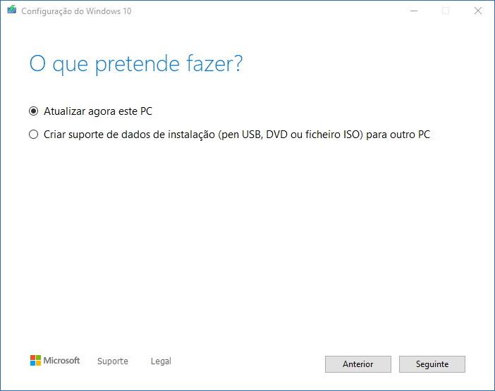 Programa Atualização Windows 10